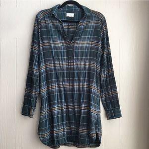 Lou & Grey Casual Plaid Shirt Tunic Dress